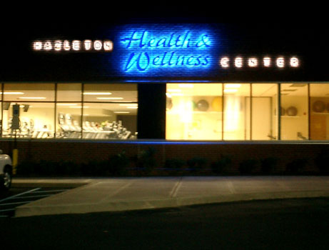 Hazleton Health & Wellness Center Night view of main entrance signage