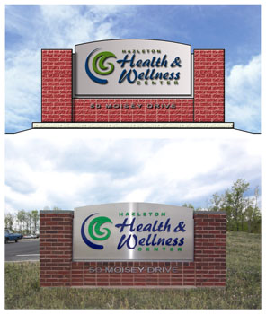 Hazleton Health & Wellness Center Rendering and photo of monument signage